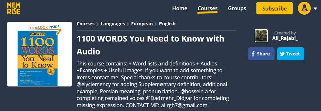 دوره ممرایز کتاب 1100 واژه که باید دانست memrise 1100 words you need to know